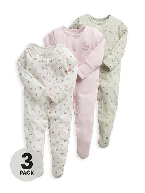 mamas-papas-baby-girls-3-pack-roses-sleepsuits-multi