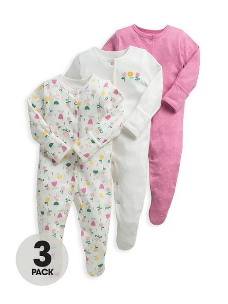 mamas-papas-baby-girls-3-pack-modern-floral-sleepsuits-pink