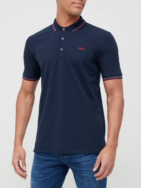 hugo-dinoso-tipped-collar-polo-shirt-dark-blue