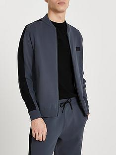 river-island-long-sleeve-premium-taped-bomber-jacket-grey