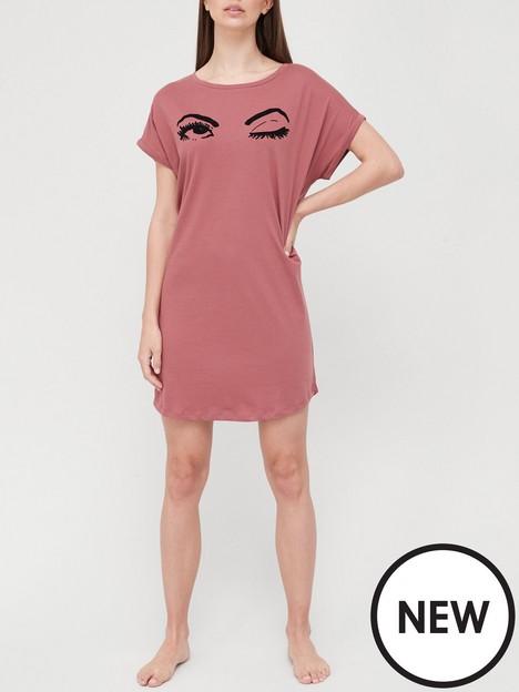 hunkemoller-nightie-caps-wink-pink