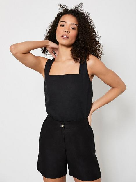 mint-velvet-linen-blend-shorts-black