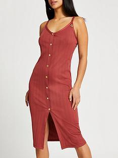 ri-petite-petite-rib-detail-button-midi-dress-rust
