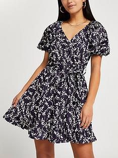 ri-petite-belted-wrap-floral-mini-dress-navy