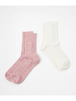 accessorize-accessorize-2-pack-thermal-socks-pink-and-cream