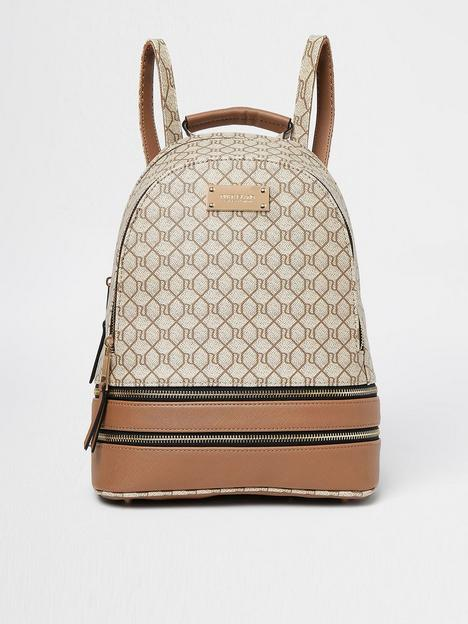river-island-monogram-backpack-beige