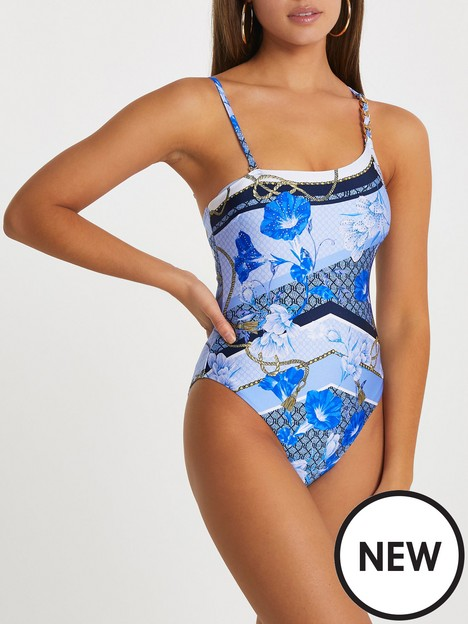 river-island-one-shoulder-chain-print-swimsuit-blue