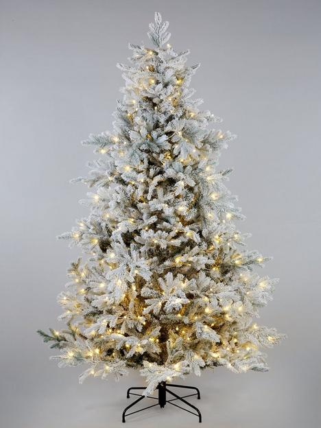 8ft-bell-shaped-real-look-pre-lit-frosted-christmas-tree