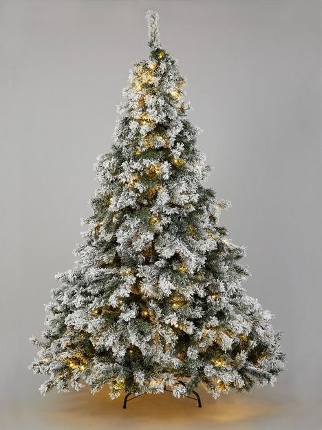 8ft-flocked-pre-lit-downswept-pine-christmas-tree