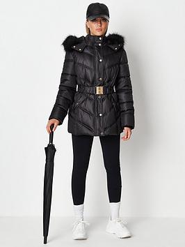missguided-missguidednbspgold-trim-belted-hood-padded-jacket-blacknbsp