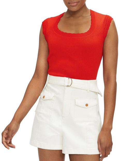 ted-baker-scallop-detail-knitted-top-rednbsp