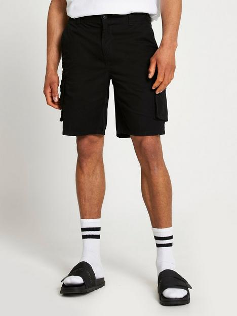 river-island-slim-fit-cargo-shorts-black
