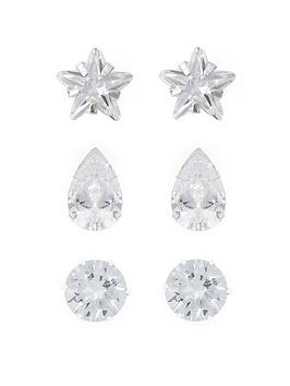 the-love-silver-collection-sterling-silver-set-of-three-cz-shape-studs