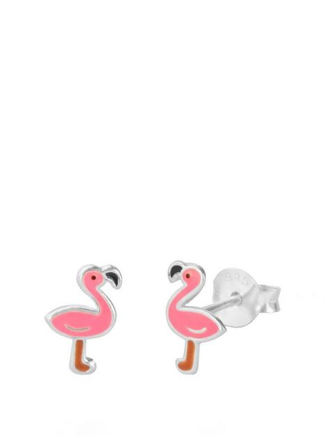 the-love-silver-collection-sterling-silver-enamel-flamingo-studs