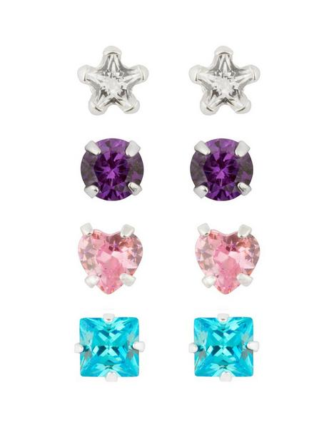 the-love-silver-collection-sterling-silver-set-of-four-4mm-coloured-cz-studs