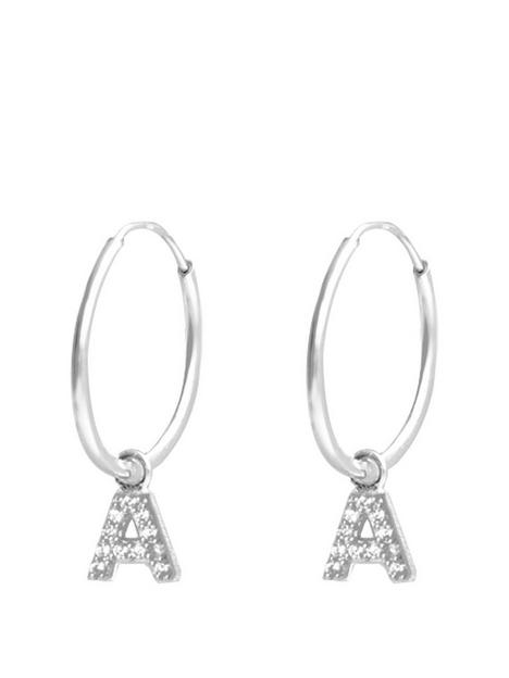 the-love-silver-collection-the-love-silver-collection-sterling-silver-personalised-initial-14mm-hoop-earrings