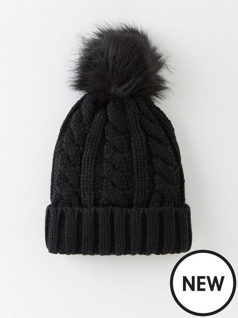 v-by-very-cable-knit-beanie-with-faux-fur-pom-pom-black