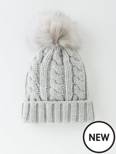 v-by-very-cable-knit-beanie-with-faux-fur-pom-pom-grey