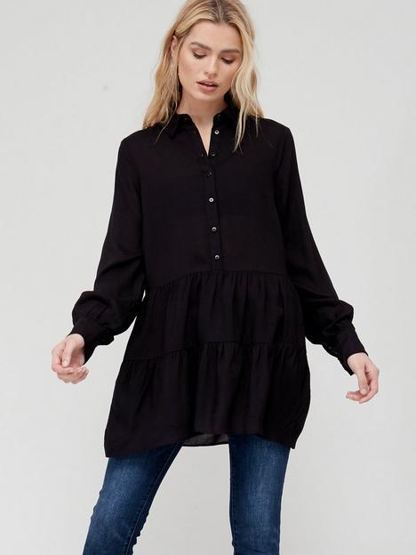 v-by-very-tiered-hem-peplum-blouse-black