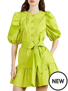 ted-baker-button-front-puffnbspsleeve-mini-dress-green
