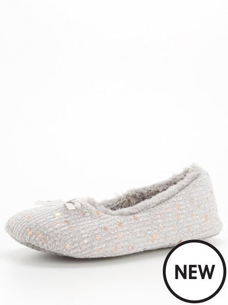 v-by-very-bow-trim-ballerina-slipper-grey