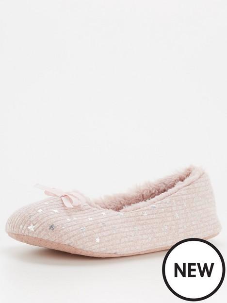 v-by-very-bow-trim-ballerina-slipper-pink