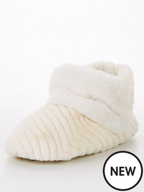 v-by-very-faux-fur-slipper-boot-cream