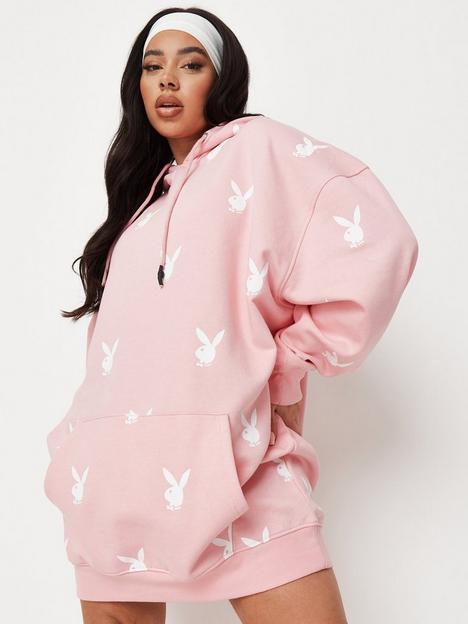 missguided-plus-missguidednbspx-playboy-plus-all-over-printnbsphoodie-dress-pink