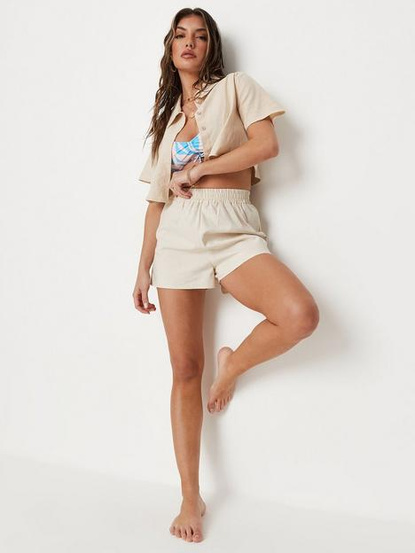 missguided-missguided-co-ord-elasticated-waist-shorts-linen-sand