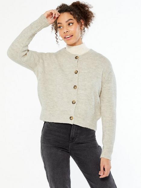 new-look-crew-neck-button-cardigan-cream