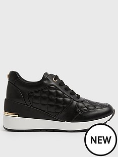 new-look-leather-look-quilted-wedge-trainers