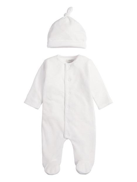 mamas-papas-unisex-baby-cloud-velour-sleepsuit-with-hat-white