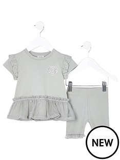 river-island-mini-girlsnbsppeplum-cycling-short-set--nbspkhaki