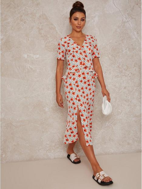 chi-chi-london-short-sleeve-floral-print-midi-day-dress-cream