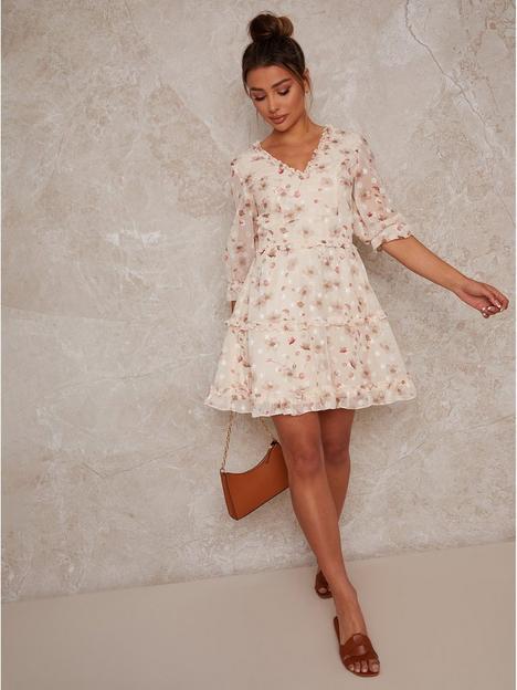chi-chi-london-ruffle-trim-floral-print-mini-summer-dress-cream