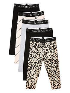 river-island-mini-girls-leggings-5-pack--nbspblackleopard-print