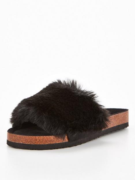 v-by-very-faux-fur-slider-slipper-black