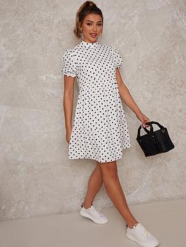 chi-chi-london-printed-spotnbspdress-whitenbsp