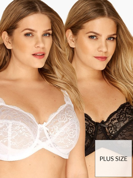 yours-yoursnbspstretch-lace-bra-2-packnbspwhiteblack