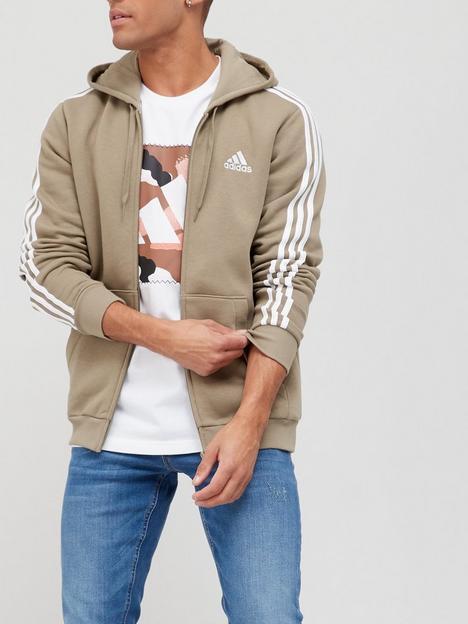 adidas-3-stripe-fleece-zip-hoodie-khaki