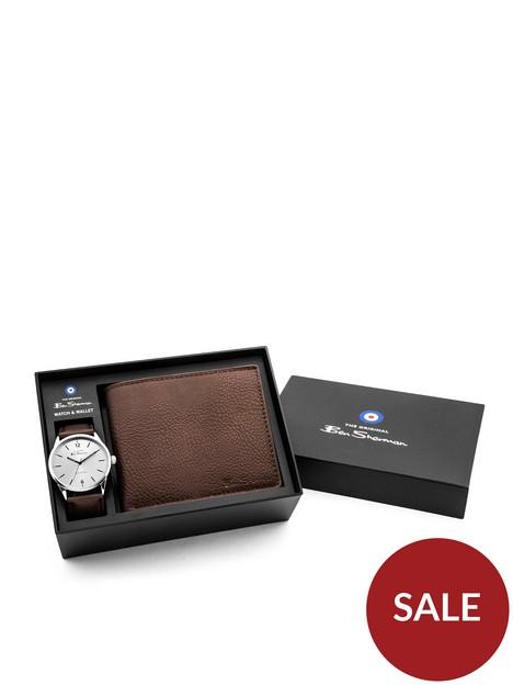 ben-sherman-ben-sherman-silver-tone-dial-brown-strap-watch-amp-wallet-gift-set
