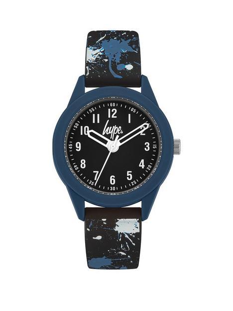 hype-black-print-strap-kids-watch