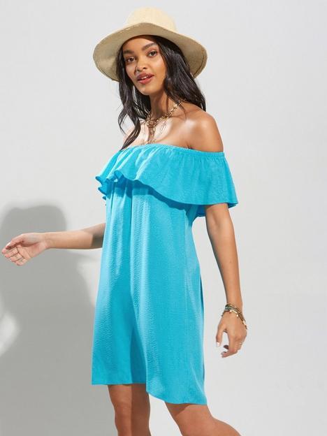 pour-moi-textured-woven-bardot-beach-dress-aqua