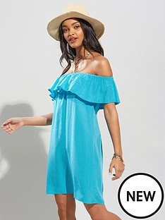 pour-moi-textured-woven-bardot-beach-dress-aqua