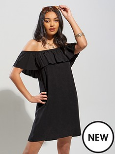 pour-moi-textured-woven-bardot-beach-dress-black