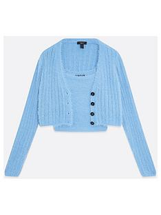 new-look-girlsnbspcrop-fluffy-cami-and-cardi-set-blue