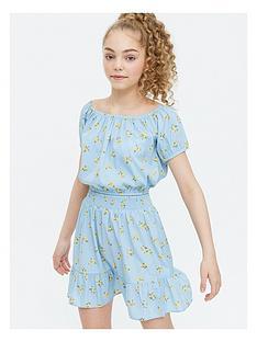 new-look-girlsnbspditsy-floral-bardot-top-amp-skirt-set-blue