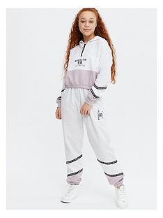 new-look-girlsnbspmanhattan-colour-blocknbspcuffed-joggers-grey