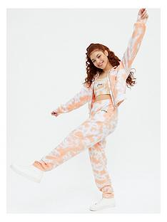 new-look-girlsnbsptrue-set-tienbspdye-zip-hood-bralette-jogger-orange
