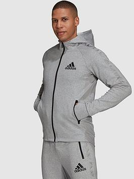 adidas-plus-size-tape-detail-zip-hoodie-greyblack